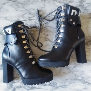 Womens DKNY Lace Up Chunky Heeled Booties size 5.5